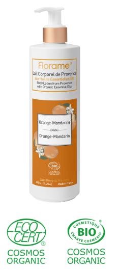 lait crème corps bio huiles essentielles orange mandarine